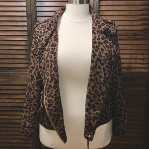 Cheetah Print Moto Jacket (Only worn once)